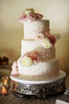 Beautiful wedding cake with cascading pink and white roses on a gorgeous stand.     ᘡղbᘡ