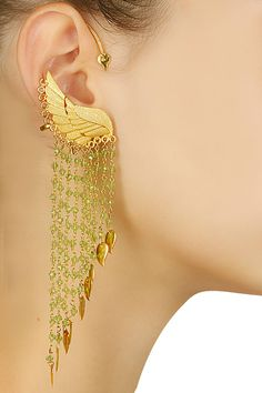 Gold plated black crystal swan earcuff available only at Pernia's Pop Up Shop.