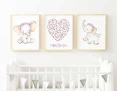 Set of 3 Baby Elephant Personalized Nursery Wall Decor, Mint Gray Nursery Decor, Baby Girl Nursery, Floral Heart Boho Nursery Wall Decor Boho Nursery, Nursery Wall Decor, Nursery Art, Girl Nursery, Nursery Ideas, Small Nurseries, 3rd Baby, Little Girl Rooms, Baby Elephant