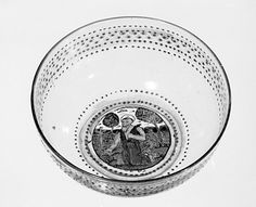 Early 16th century; Bowl; Italian, Venice (Murano); Glass, enamelled and gilt Dimensions: H. 2 1/16 in. (5.2 cm): Diam. 5 in. (12.7 cm.); Accession Number: 53.225.97
