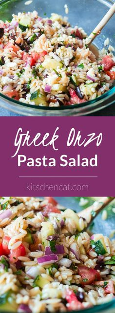 Jump into spring with this fresh Greek flavored take on a traditional pasta salad! Jump into spring with this fresh Greek flavored take on a traditional pasta salad! Orzo Recipes, Vegetarian Recipes, Cooking Recipes, Healthy Recipes, Greek Salad Pasta, Soup And Salad, Orzo Pasta Salads, Healthy Pasta Salad, Al Dente