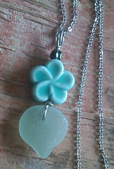 "Mint Green Foam Sea Glass Jewelry Necklace 23.5"" Stainless Plumeria Frangipani #Handmade #Pendant"