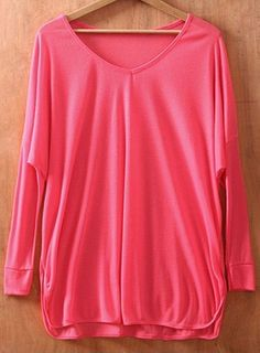 Rose Red V Neck Long Sleeve Batwing Pullovers Sweater