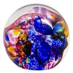 "Robert Held Art Glass - Paperweight, Medium Impressionist Cranberry/ Copper Blue - 3"" Dia"