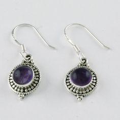 Amethyst Stone Amazing Handmade Designer Dangle Drop 925 Sterling Silver Earrings by JaipurSilverIndia on Etsy