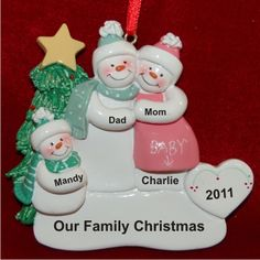 Pregnant Couple with Child New Baby Family Ornament