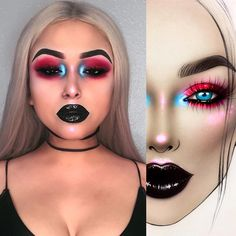 """24.2k Likes, 91 Comments - Sergey X (@milk1422) on Instagram: """"#artistmilk1422 #artist @capricorrn ✨The makeup is stunning! exquisite chic ✨💙🖤❤️✨thank you so much…"""" Halloween Face Makeup"""