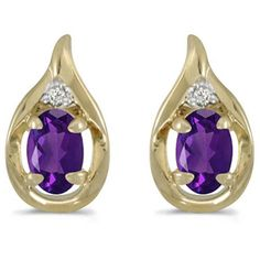 14k Yellow Gold February Birthstone Oval Amethyst And Diamond Earrings