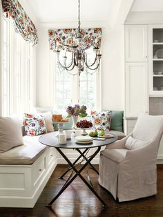 White Kitchen Table With Bench Seat. Curved Banquette Seating Home Decor. Furniture: How To Build Bay Window Bench In Your Home . Home and Family Corner Kitchen Tables, Kitchen Table Bench, Kitchen Nook, Kitchen Cabinetry, Round Kitchen, Kitchen White, Kitchen Ideas, Round Dining, Round Tables