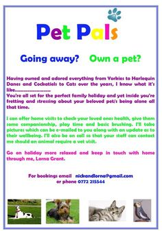 Going away and no one to look after your pets?