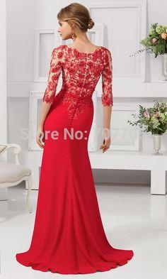 Envío gratis escote en v con cuentas venta al por mayor 2015 barato de la manga 3/4 de encaje rojo madre del vestido de la novia ACFmm941