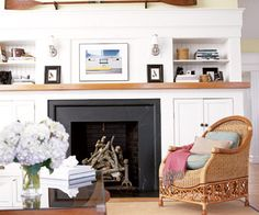 Cozy area- put the TV where the fireplace is and then the Mantle and built ins