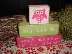 BABY BIRTH Announcement Personalized Name Measurements Girls Boys Kids Children OWL Flowers Wood Sign Blocks