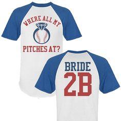 Baseball Bachelorette Party Bride to Be Jerseys. Where all my pitches at? #BaseballBachelorette #BacheloretteParty
