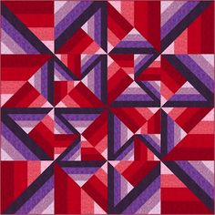 """Unexpected Twist - This quilting project is surprising easy! No templates to cut, just strips and squares. Informative color graphics and Jessica's """"Awesome Tips"""" make this pattern fun and easy to follow. Explore the possibilities of shading colors by value to create this exciting quilt with tons of movement.  Finished Size: 80"""" x 80"""""""