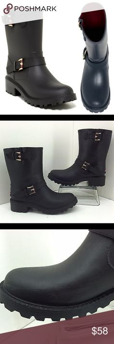 Tommy Hilfiger Twdew Womens Black Rain Boots This is a pair of NEW Tommy Hilfiger womens black dew rubber rain boots black. tommy hilfiger flag on back of boots. Gold tone buckles Tommy Hilfiger Shoes Winter & Rain Boots