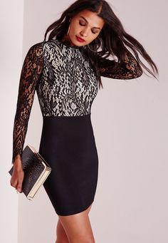 Missguided - Floral Lace High Neck Bodycon Dress Black
