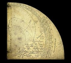 A Brass quadrant or astrolabe; the instrument combines geometry and trigonometry to resolve problems of spherical astronomy. From Syria, AD 1333-34.