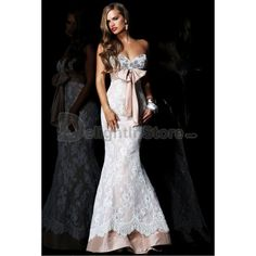 Mermaid Sweetheart Beading Bow Satin Lace Long White Prom Dress