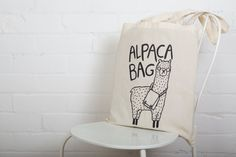 Alpaca Bag - Illustrated Screen Printed Tote Bag - Made in the UK - Mothers Day