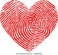 Heart made out of a fingerprint.