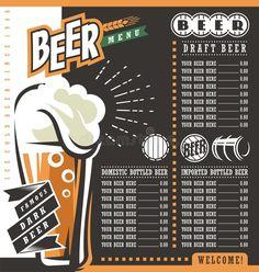 Beer Menu Retro Design Template Stock Vector - Illustration of label, logo: 68322240 Pub Design, Retro Design, Menu Design, Graphic Design, Bar Drinks List, Drink List, Restaurant Menu Template, Menu Restaurant, Pub Decor