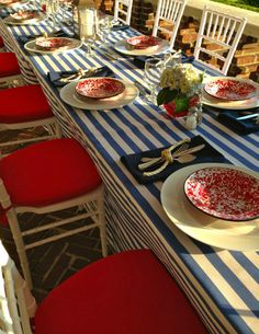 Nautical theme? Clam bake? Use boat rope to tie the silverware with red, white and blue decor.