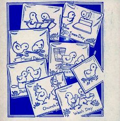 Vintage Hand Embroidery PATTERN  9171 Chick Chore of the Day