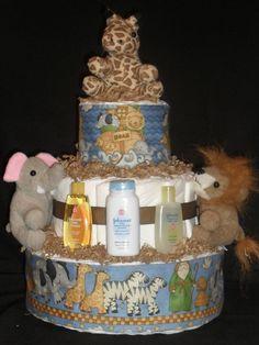 Super cute Noah's Ark diaper cake.