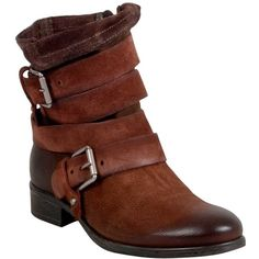 Miz Mooz Women's Slater Ankle Bootie (9.245 RUB) ❤ liked on Polyvore featuring shoes, boots, ankle booties, short boots, embellished ankle boots, motorcycle booties, buckle ankle boots and buckle booties
