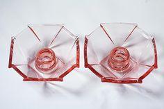 Vintage Pink Depression Glass Candle Holders Set Octagon Shape