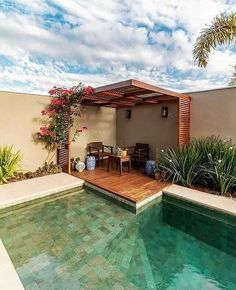 If you are working with the best backyard pool landscaping ideas there are lot of choices. You need to look into your budget for backyard landscaping ideas Backyard Pool Designs, Small Backyard Pools, Swimming Pools Backyard, Swimming Pool Designs, Patio Design, Backyard Patio, Backyard Landscaping, House Design, Landscaping Ideas