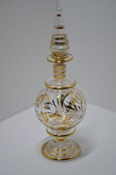Vintage Hand Made Egyptian Mouth Blown Perfume Bottle Clear Gold Gilding