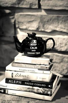 books and teapot.