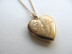 Beautiful gold vintage heart locket on long by MySoCalledVintage, $75.00