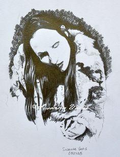 Furcoat - Marilyn Manson by Susanna Varis pencil drawing 2008