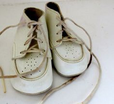 Vintage Child Baby  Shoes White Leather Feltman Brother's Baby Child Doll Bear