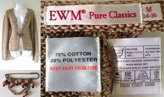 2000's EWM PURE CLASSIC Edinburgh Woollen Mill Crochet Knitted Cardigan Top Women 14 16 Beaded Kilt Pin Brooch   03.45