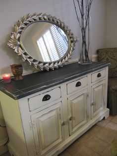 This is my buffet and I've been looking for some way to refinish it!!