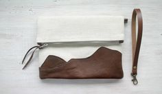 Leather and canvas Foldover bag Wristlet Purse by HelloVioleta