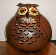 Carved and handpainted x-large gourd Owl