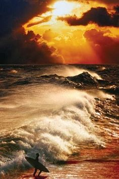 Surf Poster - Lovely contrast of the waves with the golden sky. Beautiful Sunset, Beautiful World, Beautiful Places, Beautiful Pictures, No Wave, All Nature, To Infinity And Beyond, Ocean Waves, Beach Waves