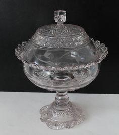 Belmont GLASS | Vintage Belmont Glass Co Comport Globe and Star No by Hallingtons