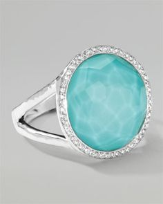 Stella Lollipop Ring in Turquoise Doublet with Diamonds, 0.23 by Ippolita at Neiman Marcus.1095<3