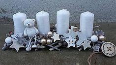 Svietidlá a sviečky - Adventny svietnik s mackom - 7485402_