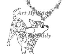 this coloring page consists of 1 hand drawn image of a beautiful chihuahua for you to
