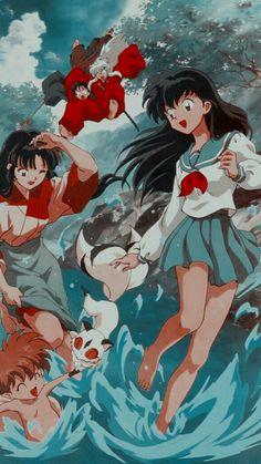 Geek Wallpaper, Cute Anime Wallpaper, Naruto Wallpaper, Cute Wallpaper Backgrounds, Cute Wallpapers, Inuyasha Fan Art, Inuyasha And Sesshomaru, Kagome And Inuyasha, Kagome Higurashi