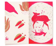 Lucille Michieli, printmaking, print, screen printing, design, colour, deer, stag, book, layout