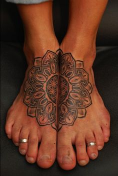Man feet but cool placement and tattoo