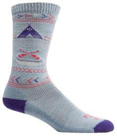 Farm to Feet Women's Franklin Lightweight Crew Socks, Wooly Blue/Parachute Purple, Small. Merino wool is soft, itch-free, naturally odor and bacteria resistant, cool in the summer and warm in winter. Advanced construction of hidden nylon plaiting creates a smooth exterior and a low-profile fit that is ideal for technical and sport socks. Bottom-of-foot cushioning across the entire sole provides shock-absorption that reduces impact from running and hiking and fitted instep reduces bulk....